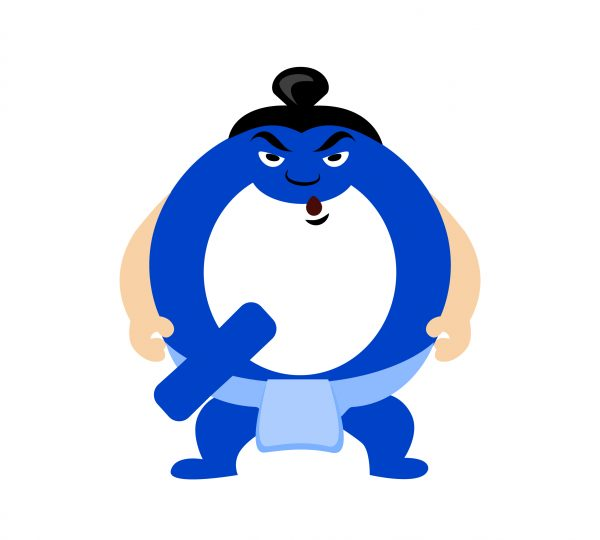 Board game character of letter Q with a twist playing in the new top 10 board game Sumo